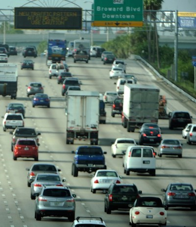 Photograph of congestion on I95 near the Broward Blvd Downtown Exit